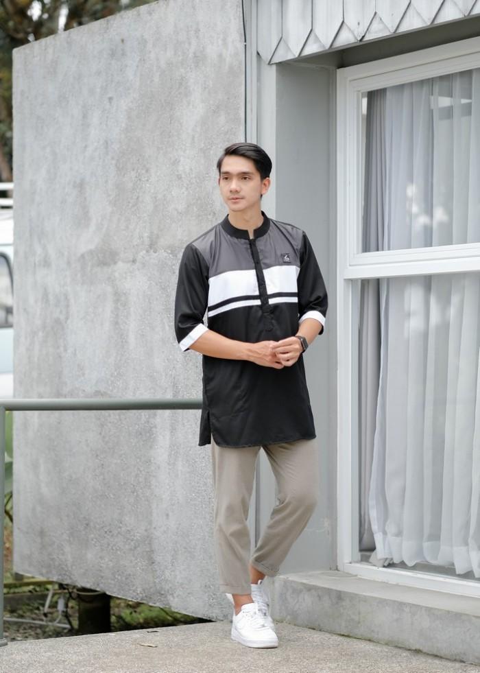 Baju Koko Kurta Modern Fit / Kurta Kasual Muslim - Soleh Usman Black