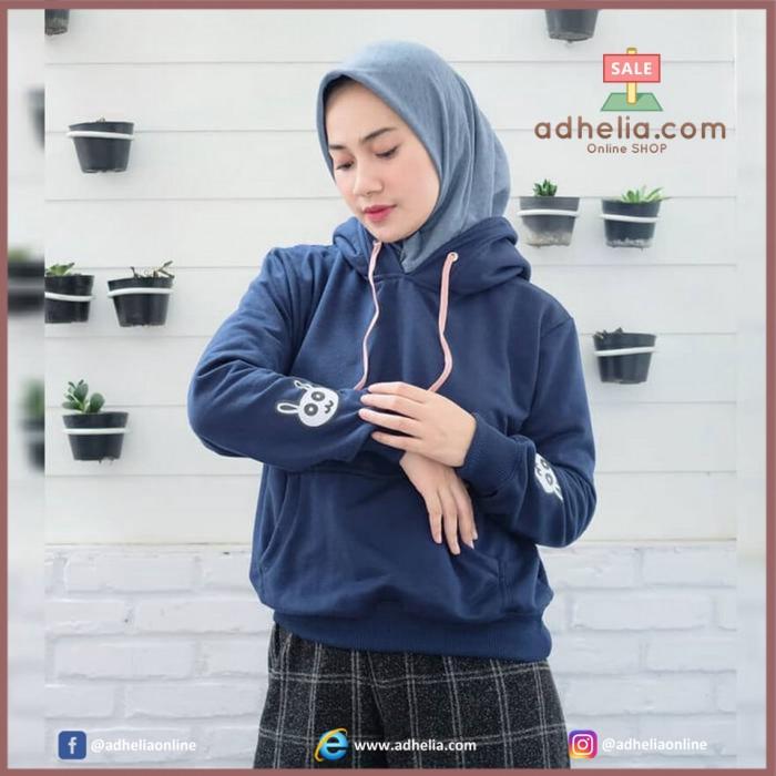 Jaket Sweater Hoodie Kekinian Bunny Wanita - VC BUNNY NAVY