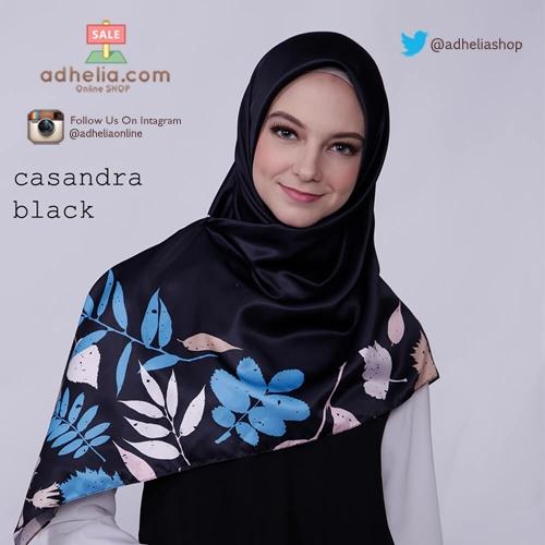 Kerudung / Hijab Segi Empat Satin Motif Zoya Scarf - CASANDRA BLACK