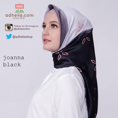 Kerudung / Hijab Segi Empat Satin Motif Zoya Scarf - JOANNA-BLACK