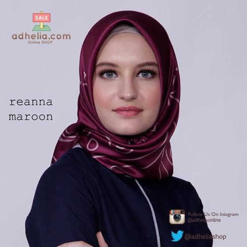 Kerudung / Hijab Segi Empat Satin Motif Zoya Scarf - REANNA-MAROON