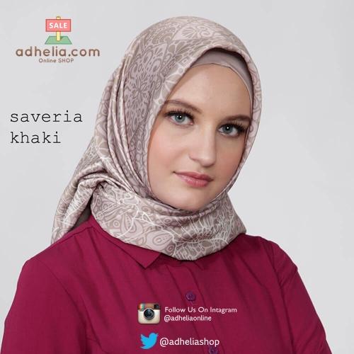 Kerudung / Hijab Segi Empat Satin Motif Zoya Scarf - SAVERIA-KHAKI