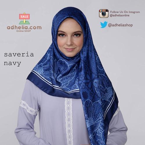 Kerudung / Hijab Segi Empat Satin Motif Zoya Scarf - SAVERIA-NAVY